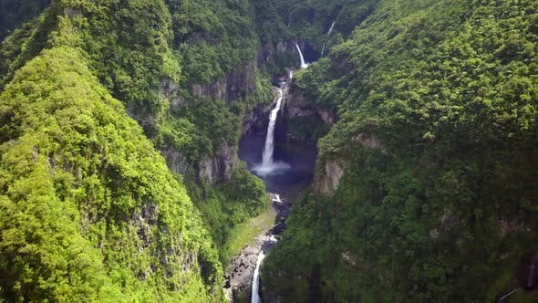 Aerial view of waterfall in Salto del Claro, Chile.