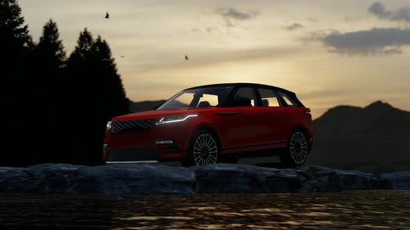Thumbnail for Red Luxury Off-Road Vehicle Standing on Rocks