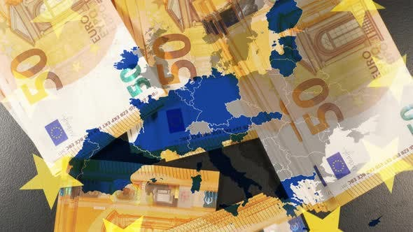 Thumbnail for Eurozone Map Over Euro Banknotes