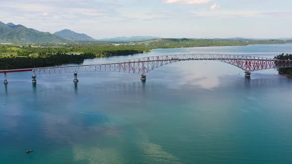 Thumbnail for San Juanico Bridge: The Longest Bridge in the Philippines. Road Bridge Between the Islands, Top View