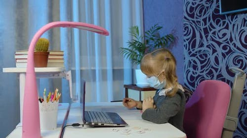 Preschool Child Girl Distance Online Education at Home Pupil Studying with Teacher Using Laptop