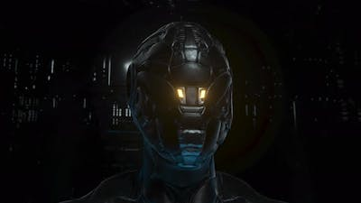 Portrait of a Cyborg with Neon Rings on a Technological Background