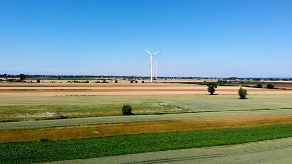 Wind turbines producing alternative energy.