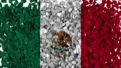 Mexico Flag Breaking Rocks Transition