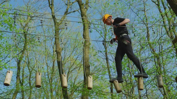 Thumbnail for A high-ropes course in an adventure park