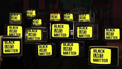 Black Lives Matter Logo on Retro TVs.