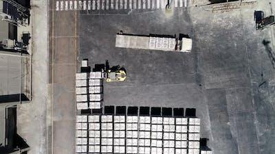 Forklift Loader in Logistics Warehouse