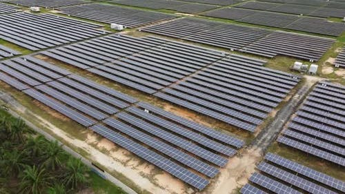 Drone view solar panel at countryside