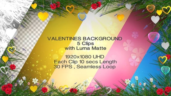 Thumbnail for Valentines Backgrounds - 5 clips with Luma Matte