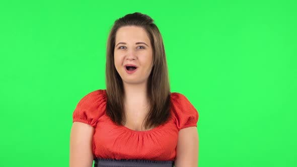 Portrait of Cute Girl with Wow Facial Expression. Green Screen