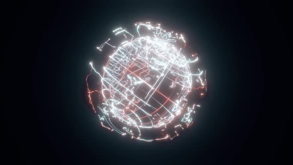 Circuit Board Earth Hologram 4k