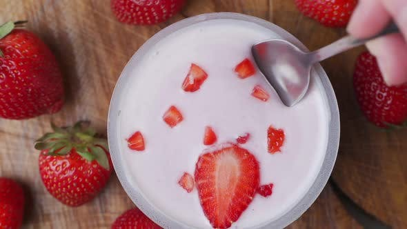 Thumbnail for Close-up of Healthy Strawberry and White Yogurt on the Spoon, Concept of Healthy Food Nutrition