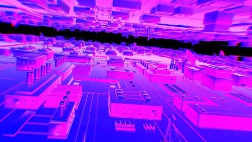 Retrofuturistic purple cityscape