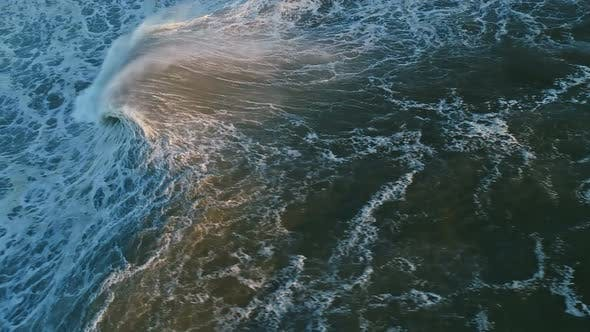 Thumbnail for Aerial Top View on Big Wave Ocean at Sunset