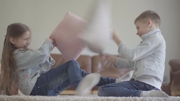 Thumbnail for Cheerful Little Twins Girl and Boy Friendly Fighting in the Living Room with Pillows in the Same
