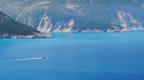Video of Amazing Mediterranean Landscape. Blue Surface of the Water, the Rocky Coastline in the