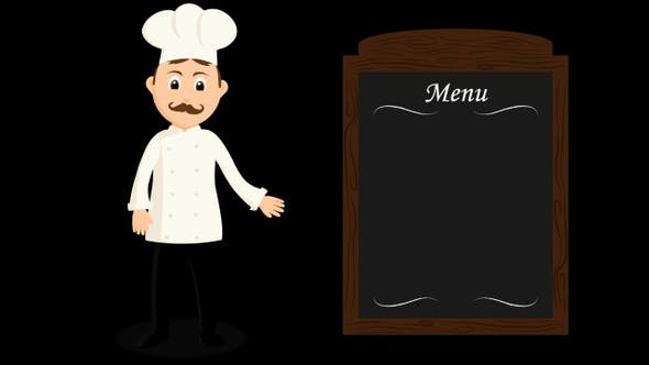 Chef Presenting The Menu Of The Day Cartoon