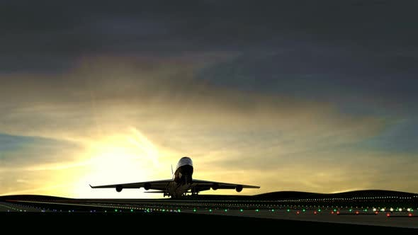 Thumbnail for Large Airplane Taking Off Against Beautiful Sunset