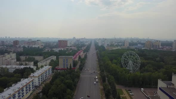 October Avenue of the City of Ufa the Main Street of the City a Ferris Wheel