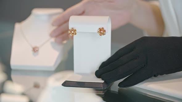 Thumbnail for Saleswoman Showing Gemstone Earrings