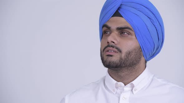 Thumbnail for Face of Young Bearded Indian Sikh Man Thinking