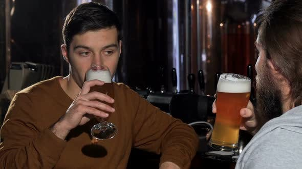 Thumbnail for Young Man Enjoying Drinking Delicious Beer with His Friend, Clinking Glasses