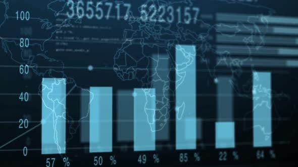 Financial Indicators and Diagrams on a Digital Background