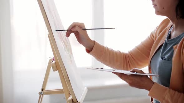 Thumbnail for Artist with Palette and Brush Painting at Home 2