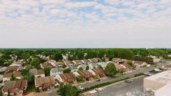 Thumbnail for Aerial View Establishing Shot of American Neighborhood, Suburb. Real Estate, Drone Shots,