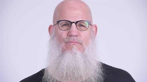 Thumbnail for Face of Happy Mature Bald Bearded Man with Eyeglasses Smiling