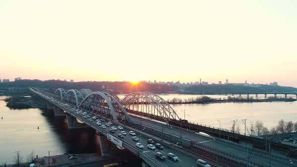 Thumbnail for Sunset Over the Road Bridge in Kiev
