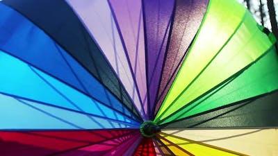 Multi-colored Umbrella Rotates