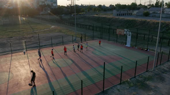 Aerial View. Park with a Basketball Field and a Training Platform. Sports Area.