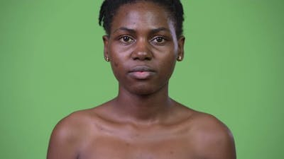 Young Happy Beautiful African Woman Smiling Shirtless