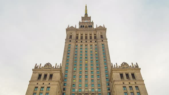 Time Lapse of the Spire of Palace of Culture and Science, Historic High-rise Building in the Centre