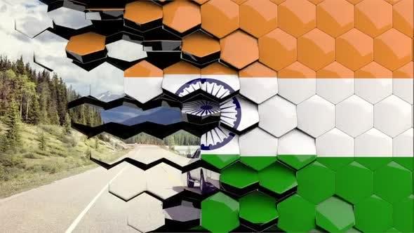 India Flag Hexagon Transition - 4K Resolution