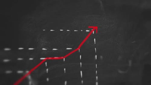 Increasing Statistic Graphic Red Chalk on Blackboard