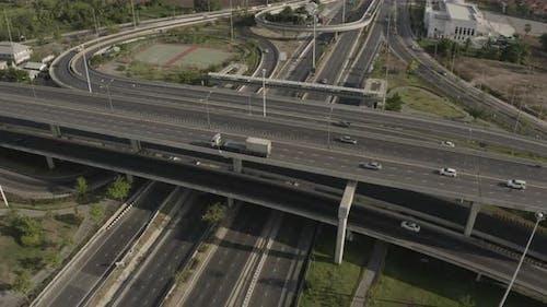 Aerial View of Highway Speed Car