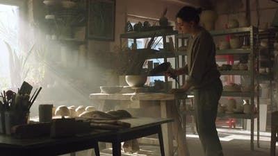 Woman Is Drying Raw Clay Pot