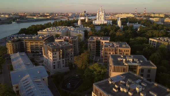 Thumbnail for Aerial View on the Smolny Cathedral at Neva River in Saint-Petersburg.
