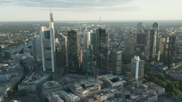Thumbnail for AERIAL: Beautiful Frankfurt Am Main, Germany Cityscape in Soft Summer Afternoon Light with Green