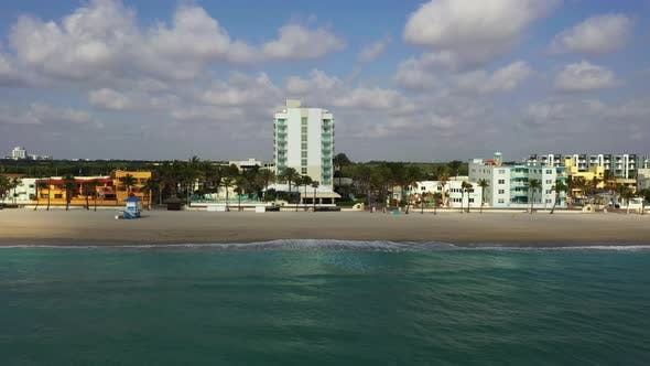 Hollywood Florida aerial beach footage