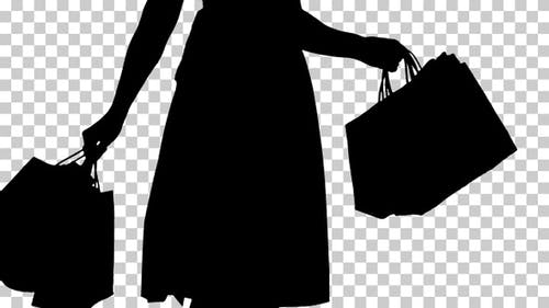 Silhouette Woman with shopping bags, Alpha Channel