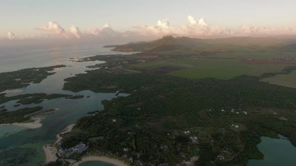 Thumbnail for Aerial Green Scenes and Blue Lagoons of Mauritius Island
