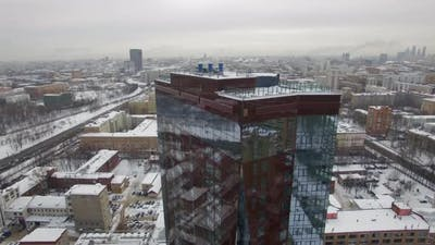 View of modern building in winter