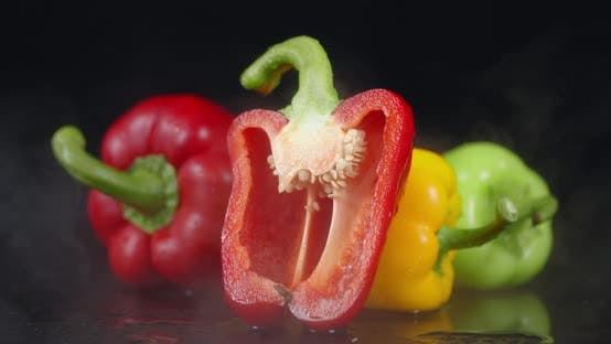 Thumbnail for Fresh Sweet Pepper with a Cool Steam.