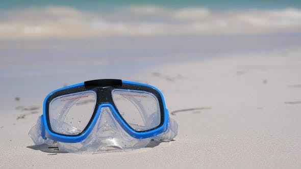 Snorkeling Mask on Sandy Beach. Outdoor Lifestyle Concept