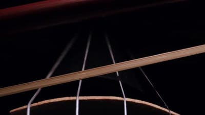 Close-up of the Movement of the Bow on the Strings of a Violin