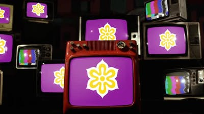 Flag Of Kyoto Prefecture, Japan, and Retro TVs.