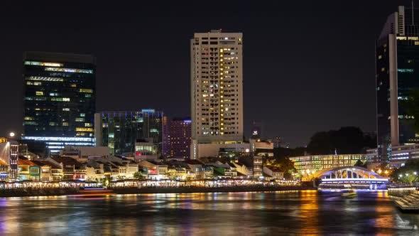 Thumbnail for Singapore Walking Quay River at Night Timelapse